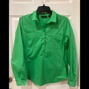 New York & Company green pull over button shirt.